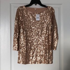 NWT J Crew blush sequin top. XXS.